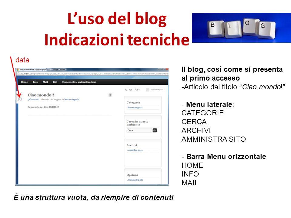 Luso del blog Indicazioni tecniche Il blog, così come si presenta al primo accesso -Articolo dal titolo Ciao mondo.