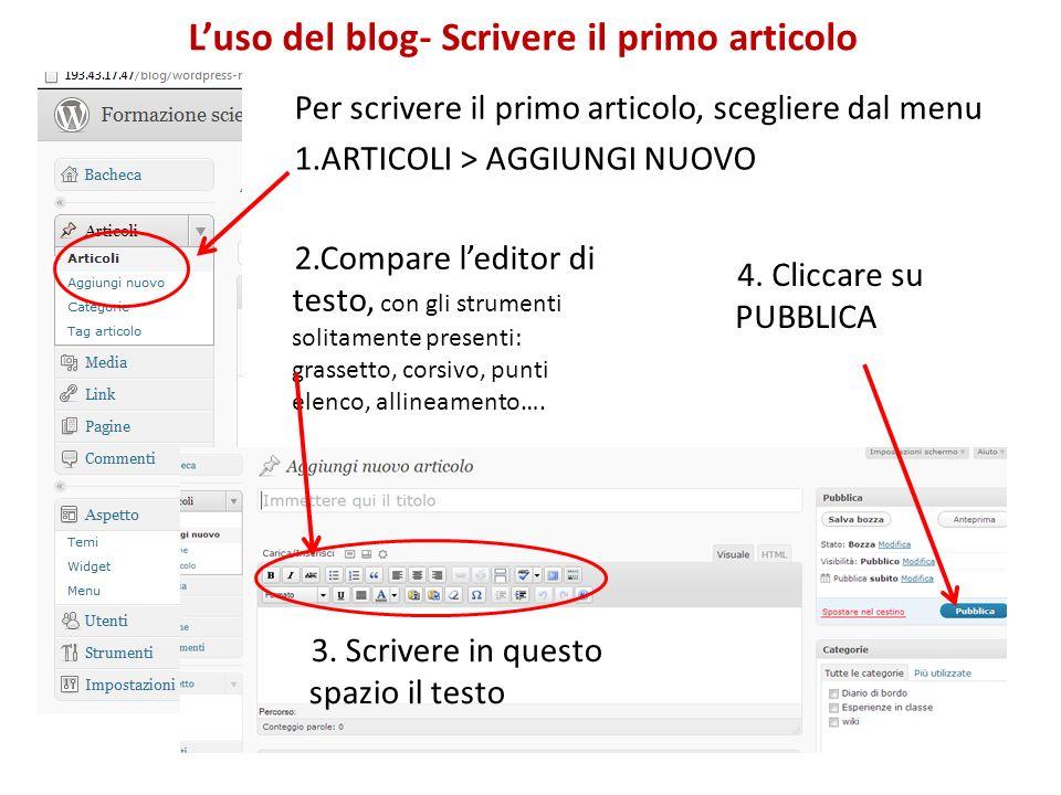 Per scrivere il primo articolo, scegliere dal menu 1.ARTICOLI > AGGIUNGI NUOVO Luso del blog- Scrivere il primo articolo 2.Compare leditor di testo, con gli strumenti solitamente presenti: grassetto, corsivo, punti elenco, allineamento….