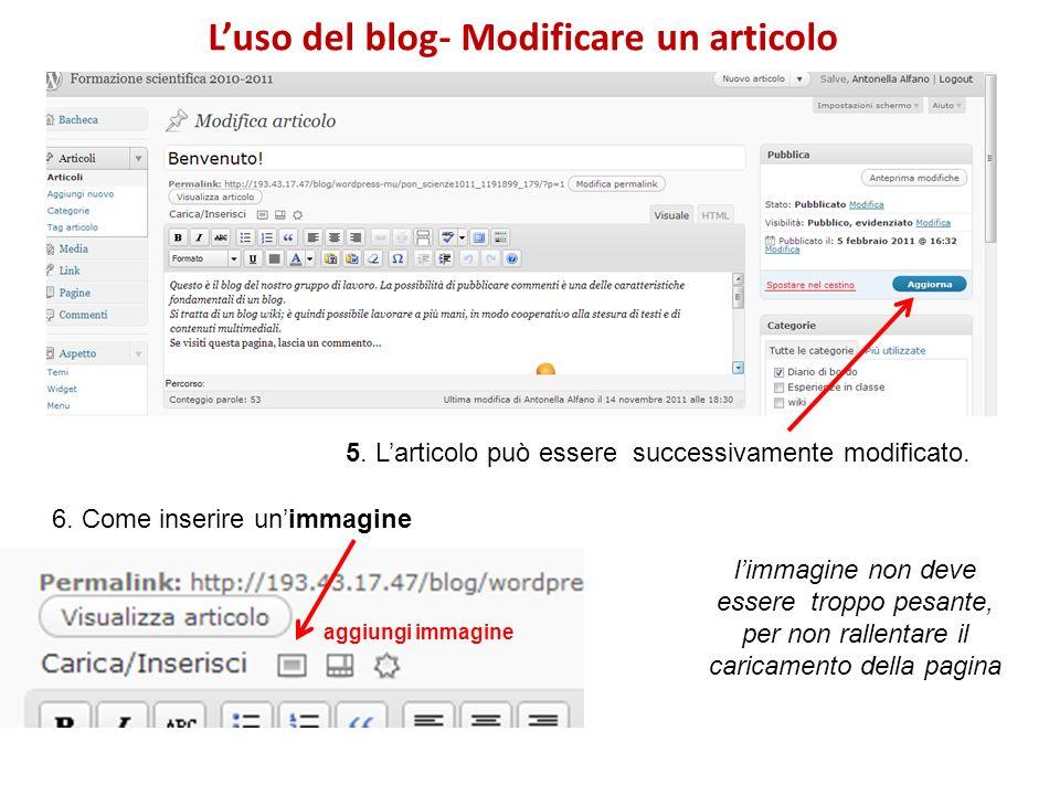Luso del blog- Modificare un articolo 5. Larticolo può essere successivamente modificato.