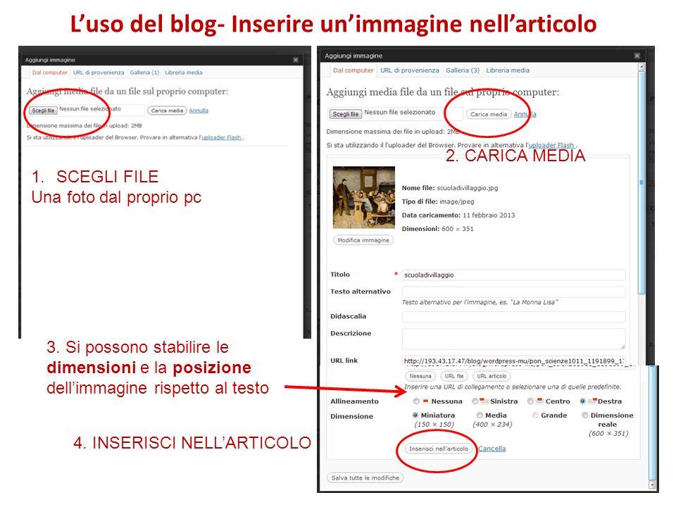 Luso del blog- Inserire unimmagine nellarticolo 1.SCEGLI FILE Una foto dal proprio pc 2.