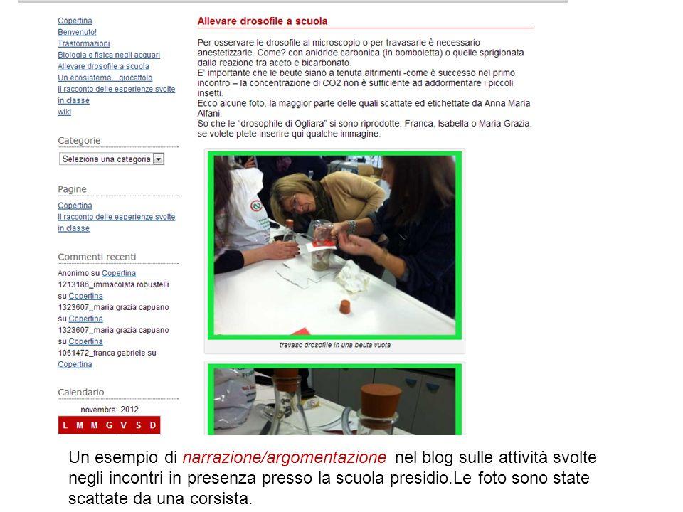 Un esempio di narrazione/argomentazione nel blog sulle attività svolte negli incontri in presenza presso la scuola presidio.Le foto sono state scattate da una corsista.