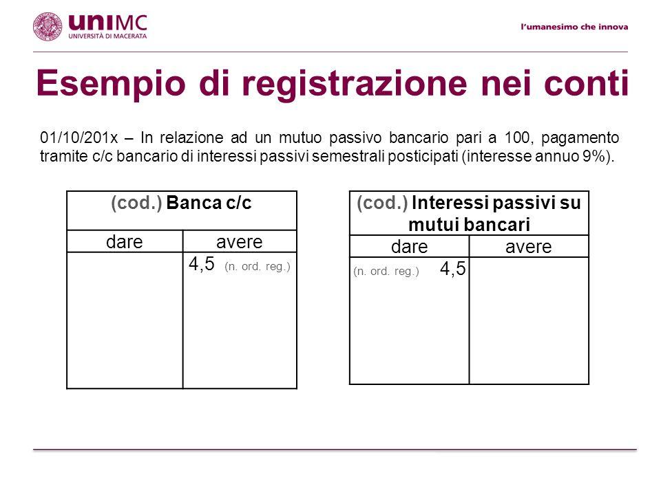 Esempio di registrazione nei conti (cod.) Banca c/c dareavere 4,5 (n. ord. reg.) (cod.) Interessi passivi su mutui bancari dareavere (n. ord. reg.) 4,