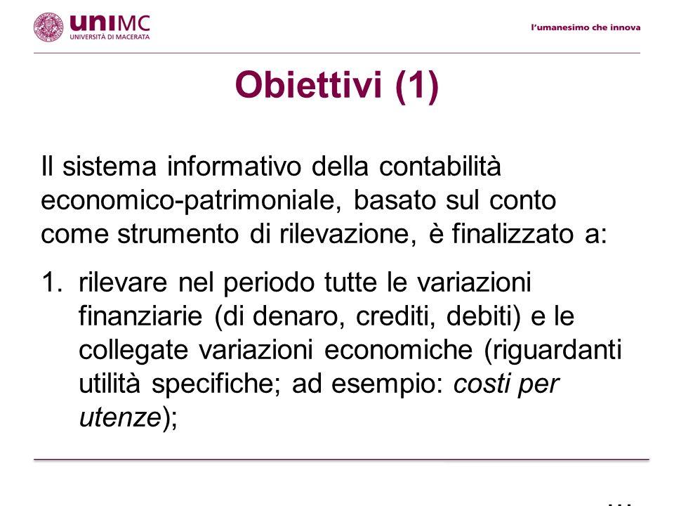 Obiettivi (1) Il sistema informativo della contabilità economico-patrimoniale, basato sul conto come strumento di rilevazione, è finalizzato a: 1.rile