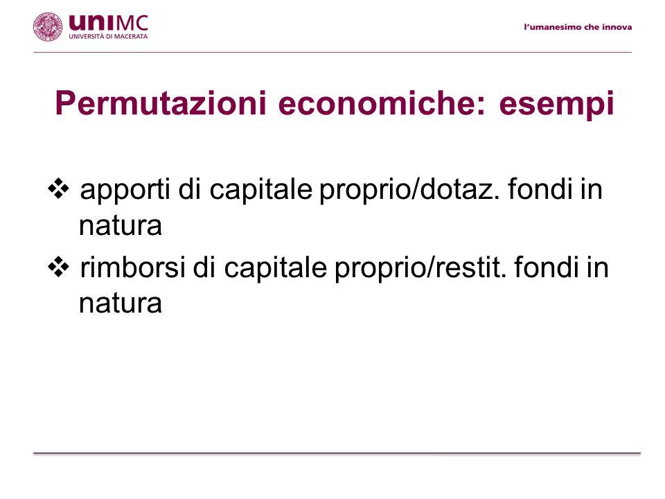 apporti di capitale proprio/dotaz. fondi in natura rimborsi di capitale proprio/restit. fondi in natura Permutazioni economiche: esempi