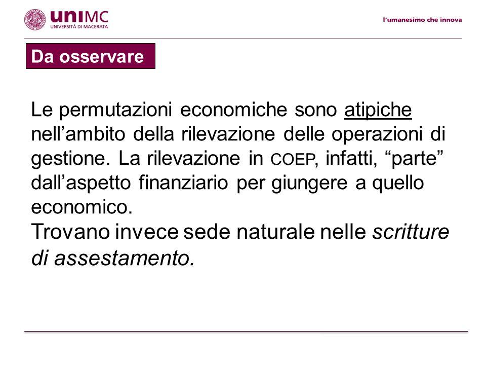 Da osservare Le permutazioni economiche sono atipiche nellambito della rilevazione delle operazioni di gestione. La rilevazione in COEP, infatti, part