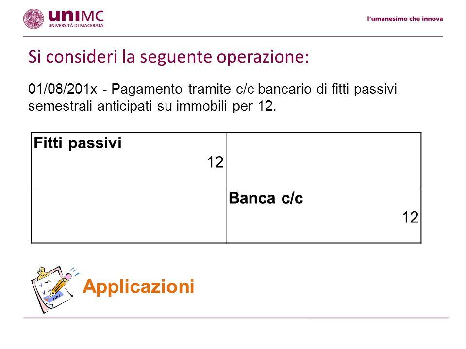 01/08/201x - Pagamento tramite c/c bancario di fitti passivi semestrali anticipati su immobili per 12. Applicazioni Fitti passivi 12 Banca c/c 12 Si c