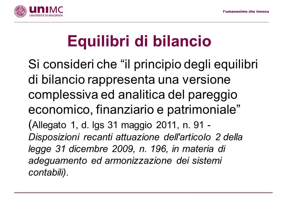Si consideri che il principio degli equilibri di bilancio rappresenta una versione complessiva ed analitica del pareggio economico, finanziario e patr