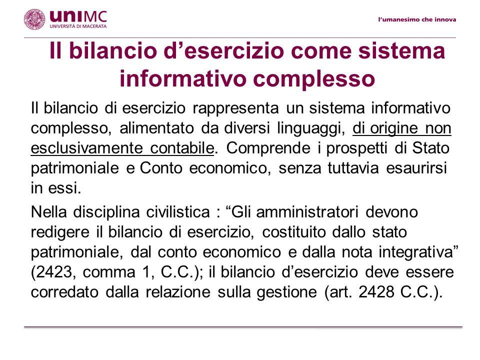 Il bilancio di esercizio rappresenta un sistema informativo complesso, alimentato da diversi linguaggi, di origine non esclusivamente contabile. Compr