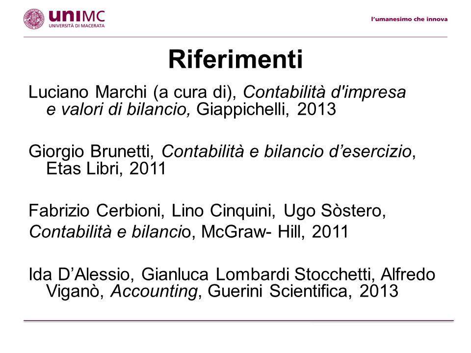 Riferimenti Luciano Marchi (a cura di), Contabilità d'impresa e valori di bilancio, Giappichelli, 2013 Giorgio Brunetti, Contabilità e bilancio deserc