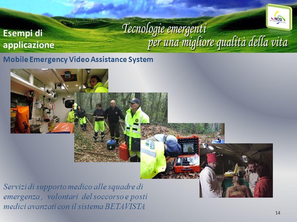 14 Mobile Emergency Video Assistance System Esempi di applicazione Servizi di supporto medico alle squadre di emergenza, volontari del soccorso e post