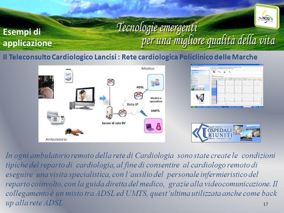 17 Il Teleconsulto Cardiologico Lancisi : Rete cardiologica Policlinico delle Marche In ogni ambulatorio remoto della rete di Cardiologia sono state c
