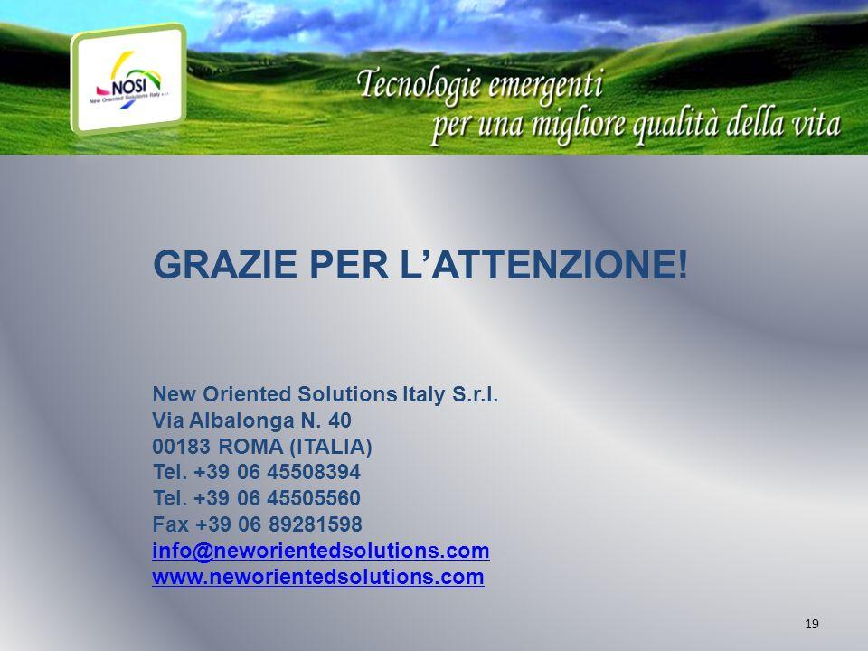 19 GRAZIE PER LATTENZIONE! New Oriented Solutions Italy S.r.l. Via Albalonga N. 40 00183 ROMA (ITALIA) Tel. +39 06 45508394 Tel. +39 06 45505560 Fax +
