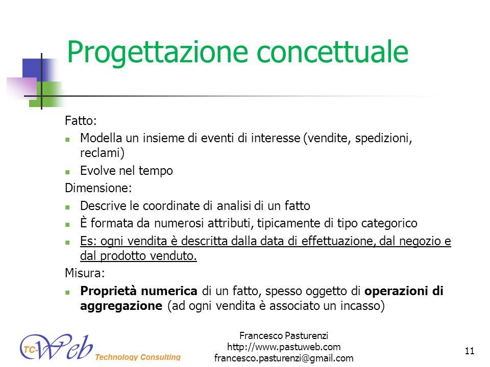 Progettazione concettuale Fatto: Modella un insieme di eventi di interesse (vendite, spedizioni, reclami) Evolve nel tempo Dimensione: Descrive le coo