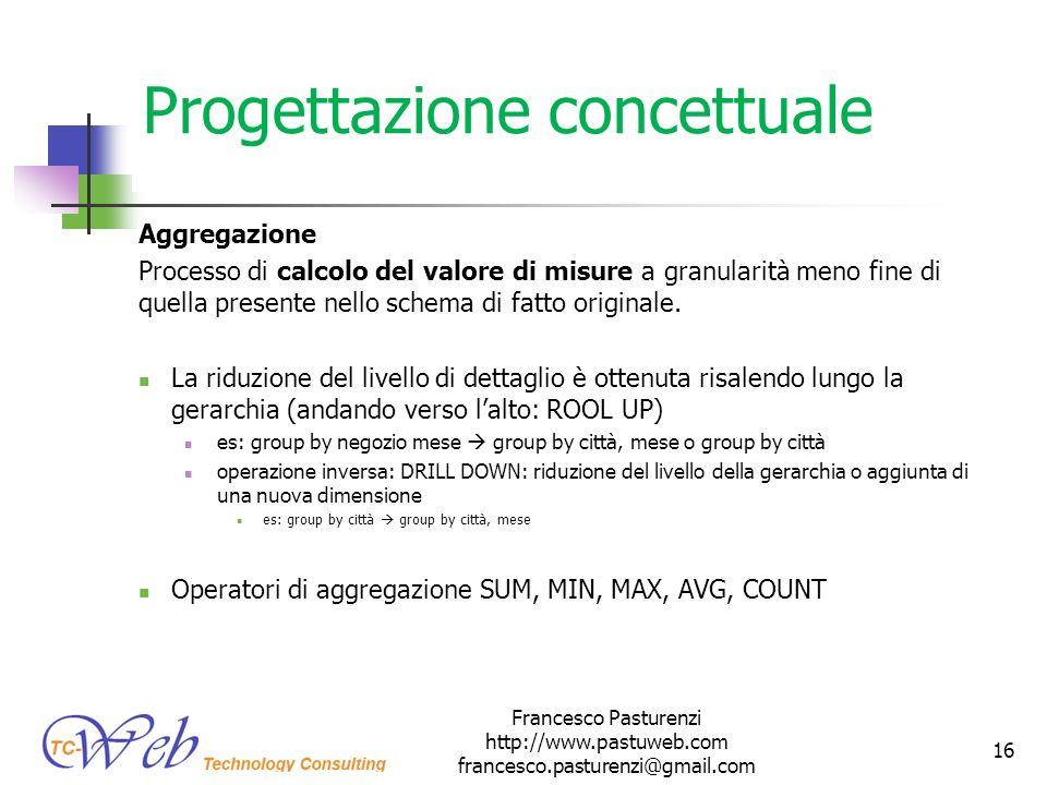Progettazione concettuale Aggregazione Processo di calcolo del valore di misure a granularità meno fine di quella presente nello schema di fatto origi