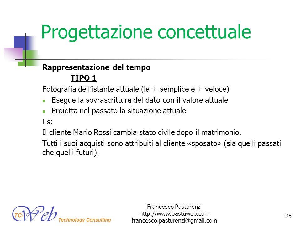 Progettazione concettuale Rappresentazione del tempo TIPO 1 Fotografia dellistante attuale (la + semplice e + veloce) Esegue la sovrascrittura del dat