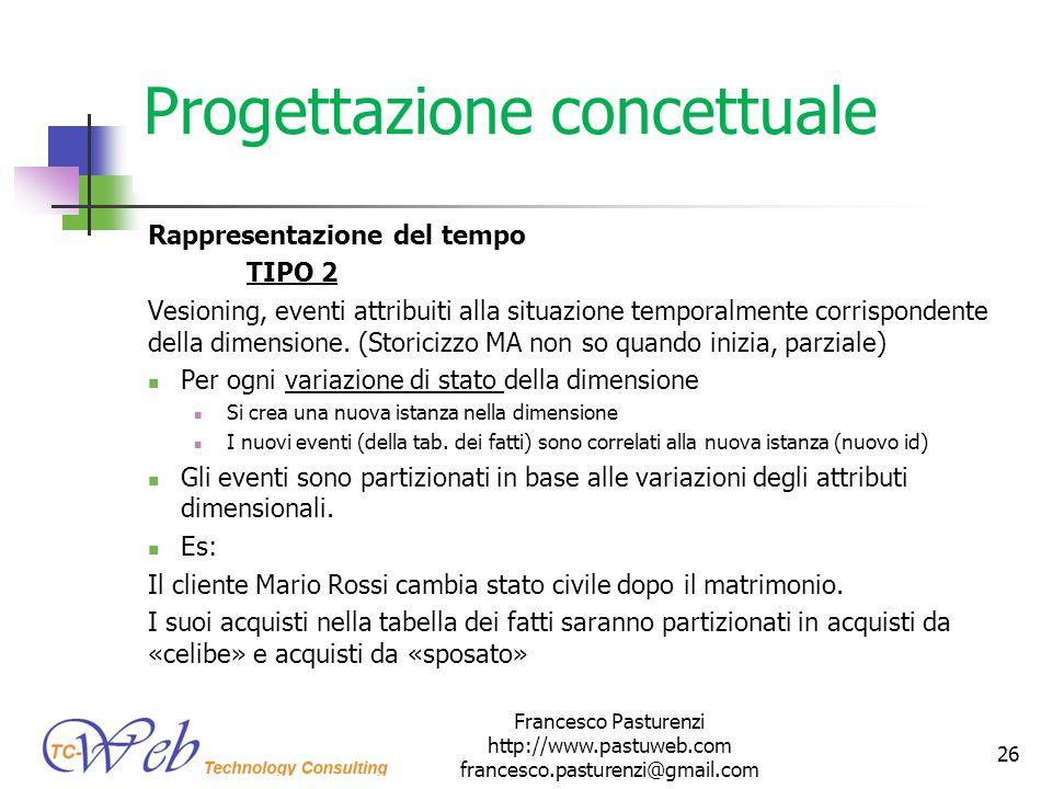 Progettazione concettuale Rappresentazione del tempo TIPO 2 Vesioning, eventi attribuiti alla situazione temporalmente corrispondente della dimensione