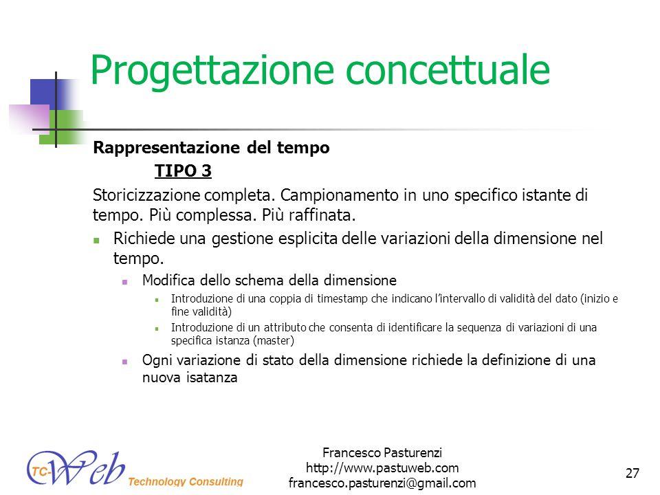 Progettazione concettuale Rappresentazione del tempo TIPO 3 Storicizzazione completa. Campionamento in uno specifico istante di tempo. Più complessa.