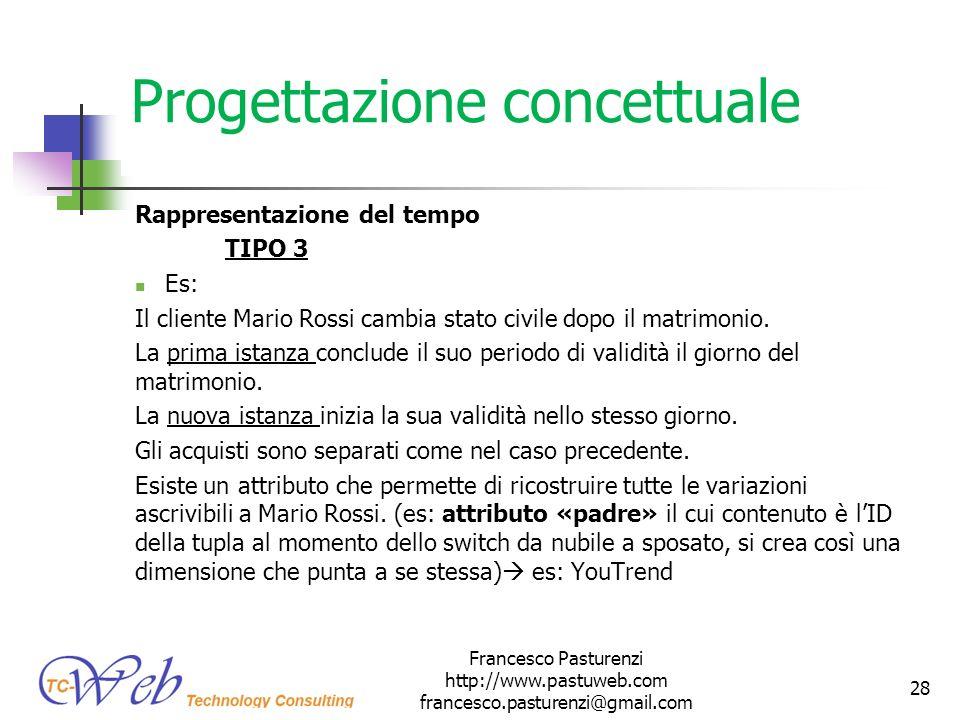Progettazione concettuale Rappresentazione del tempo TIPO 3 Es: Il cliente Mario Rossi cambia stato civile dopo il matrimonio. La prima istanza conclu