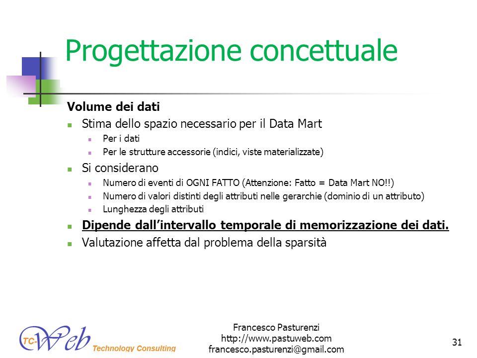 Progettazione concettuale Volume dei dati Stima dello spazio necessario per il Data Mart Per i dati Per le strutture accessorie (indici, viste materia