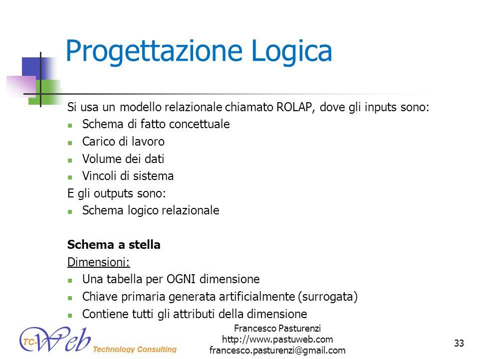Progettazione Logica Si usa un modello relazionale chiamato ROLAP, dove gli inputs sono: Schema di fatto concettuale Carico di lavoro Volume dei dati