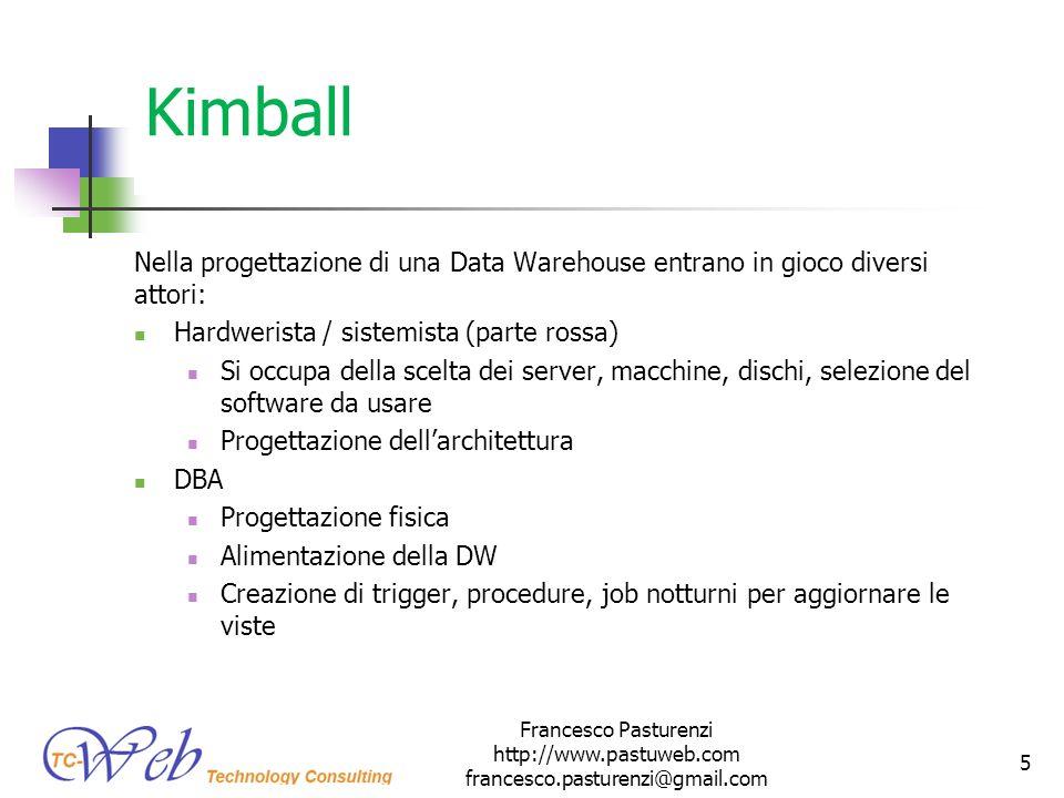 Kimball Nella progettazione di una Data Warehouse entrano in gioco diversi attori: Hardwerista / sistemista (parte rossa) Si occupa della scelta dei s