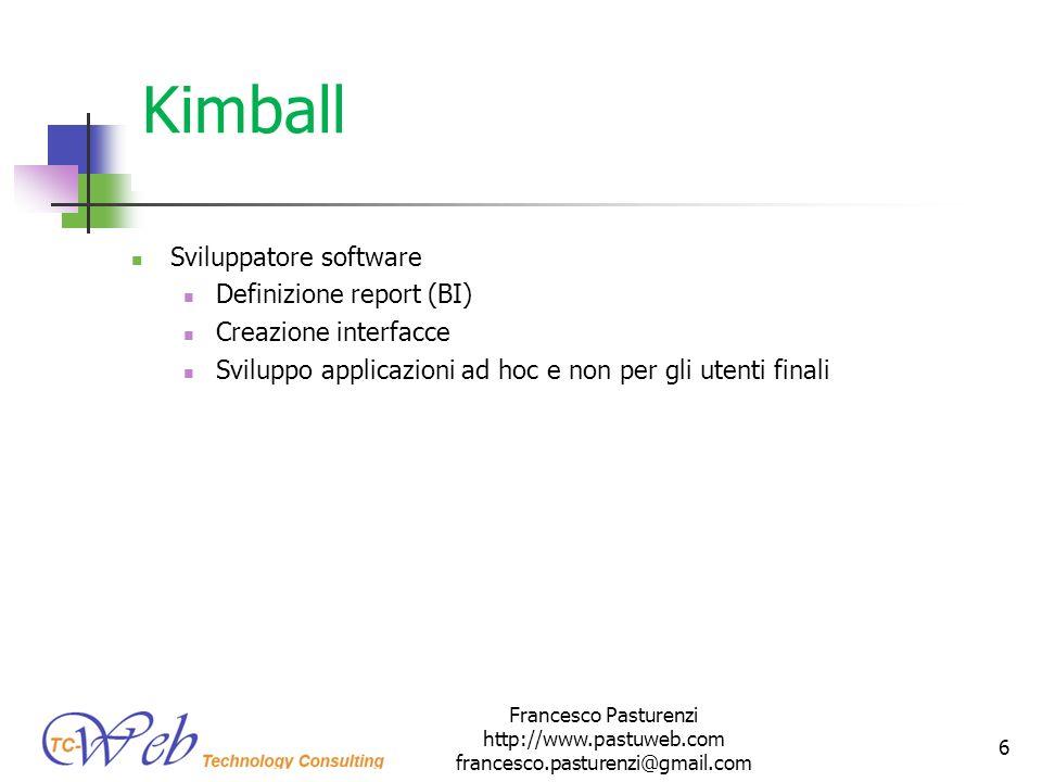Kimball Sviluppatore software Definizione report (BI) Creazione interfacce Sviluppo applicazioni ad hoc e non per gli utenti finali Francesco Pasturen