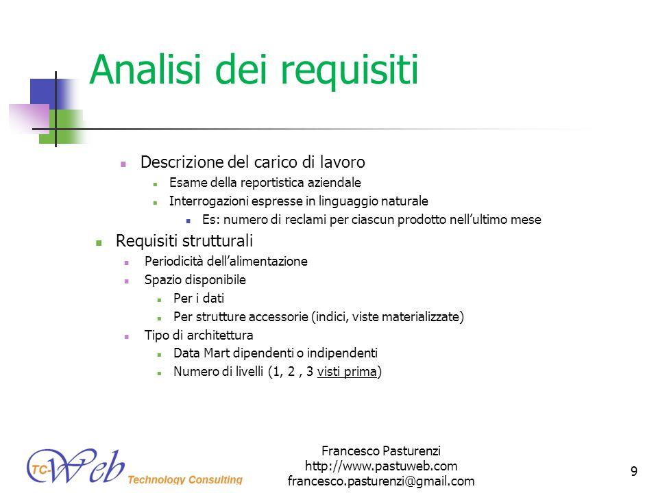Analisi dei requisiti Descrizione del carico di lavoro Esame della reportistica aziendale Interrogazioni espresse in linguaggio naturale Es: numero di