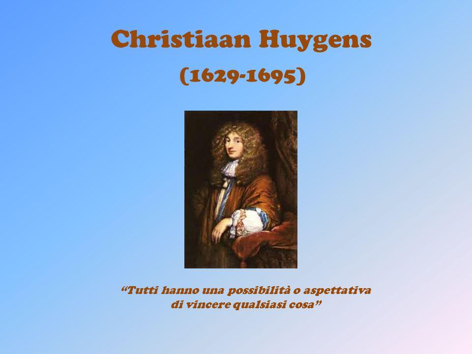 Christiaan Huygens (1629-1695) Tutti hanno una possibilità o aspettativa di vincere qualsiasi cosa