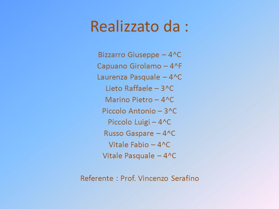 Realizzato da : Bizzarro Giuseppe – 4^C Capuano Girolamo – 4^F Laurenza Pasquale – 4^C Lieto Raffaele – 3^C Marino Pietro – 4^C Piccolo Antonio – 3^C