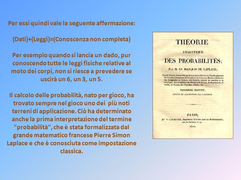 Pierre Simon Laplace (1749-1827) Che cosa conosciamo non è molto. Che cosa non conosciamo è immenso