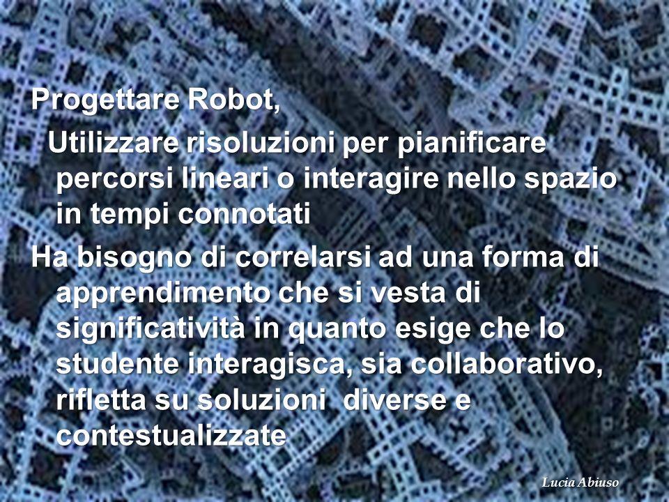 Progettare Robot, Utilizzare risoluzioni per pianificare percorsi lineari o interagire nello spazio in tempi connotati Utilizzare risoluzioni per pian