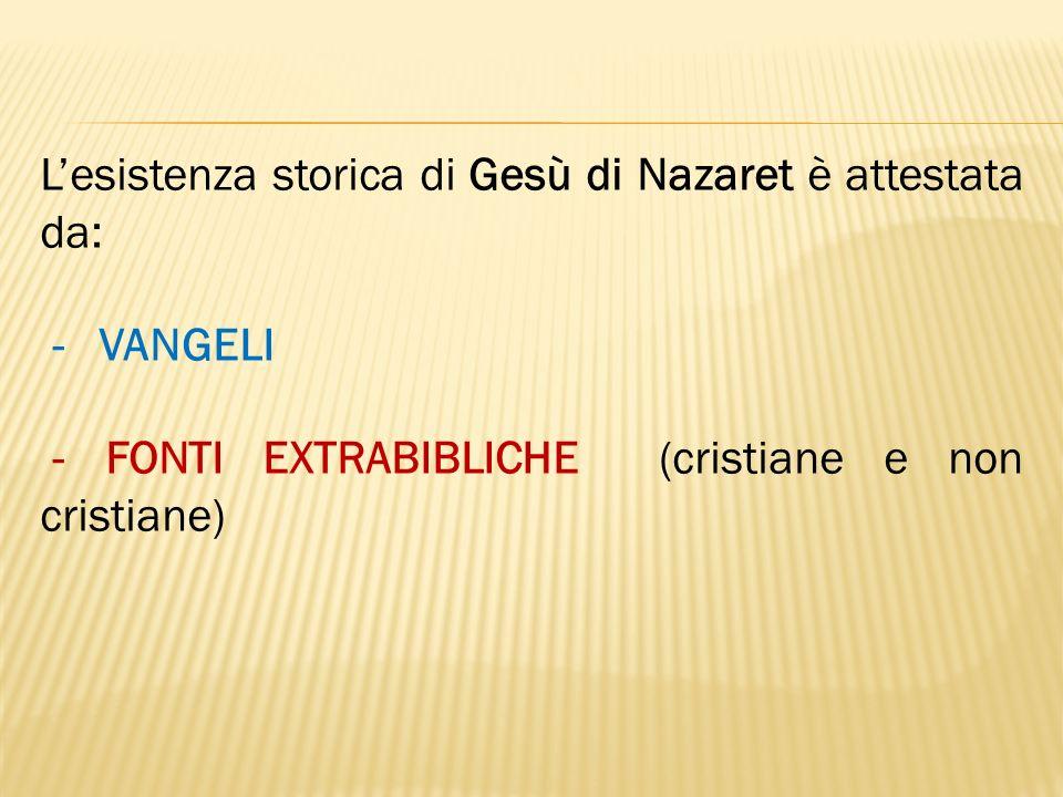 Lesistenza storica di Gesù di Nazaret è attestata da: - VANGELI - FONTI EXTRABIBLICHE (cristiane e non cristiane)