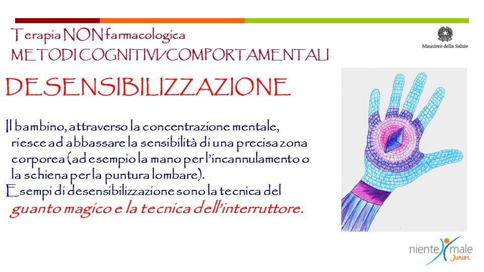 METODI COGNITIVI/COMPORTAMENTALI DESENSIBILIZZAZIONE Il bambino, attraverso la concentrazione mentale, riesce ad abbassare la sensibilità di una preci