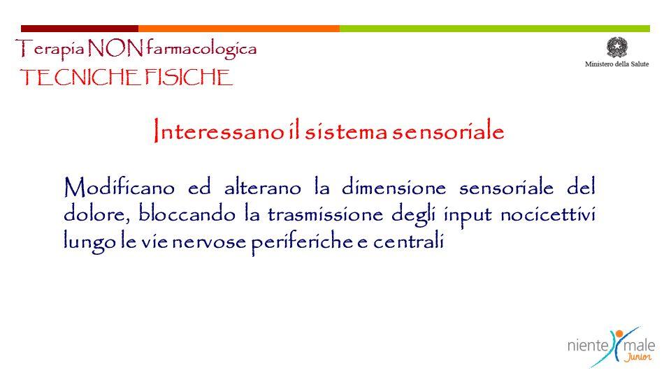 TECNICHE FISICHE Interessano il sistema sensoriale Modificano ed alterano la dimensione sensoriale del dolore, bloccando la trasmissione degli input n