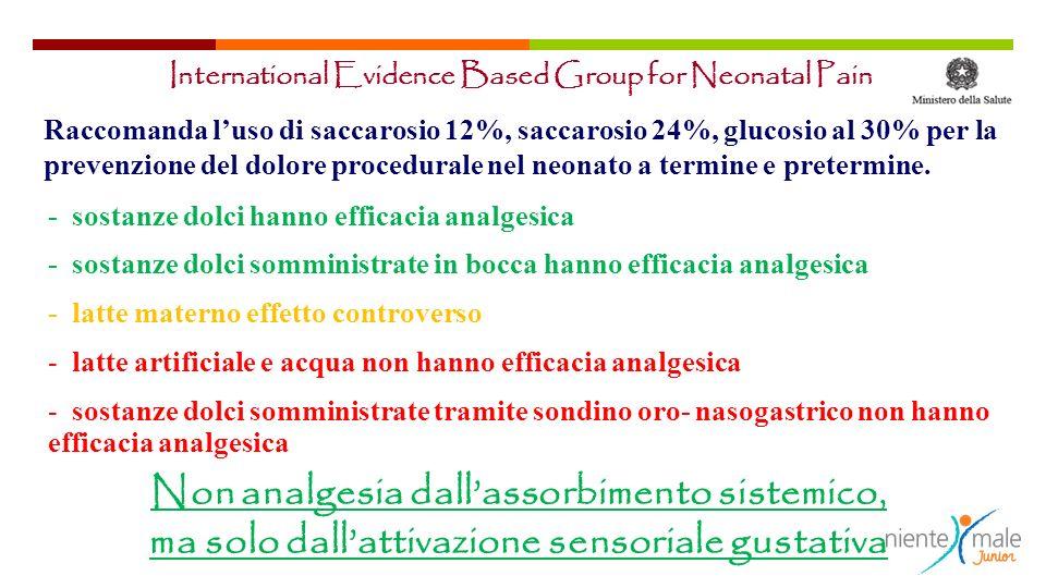 International Evidence Based Group for Neonatal Pain Raccomanda luso di saccarosio 12%, saccarosio 24%, glucosio al 30% per la prevenzione del dolore