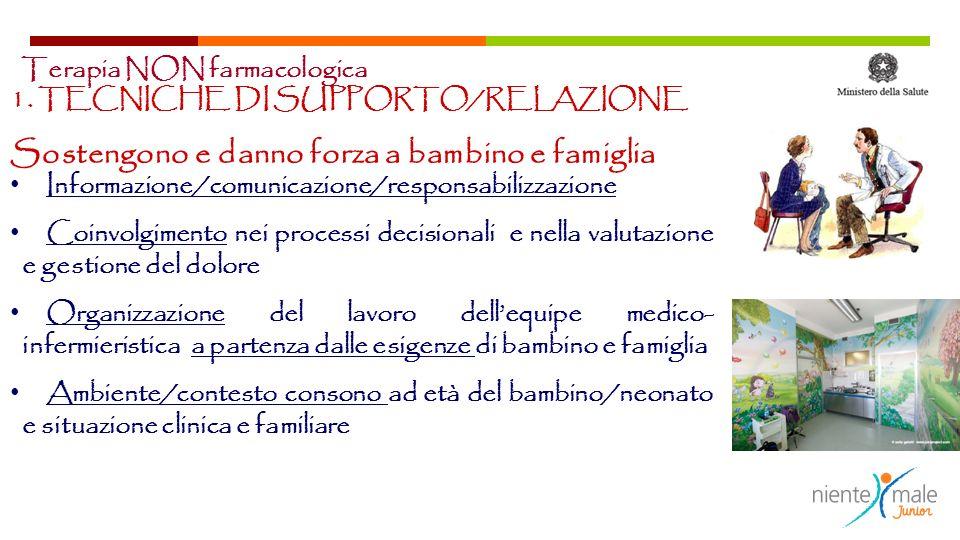 1. TECNICHE DI SUPPORTO/RELAZIONE Sostengono e danno forza a bambino e famiglia Informazione/comunicazione/responsabilizzazione Coinvolgimento nei pro