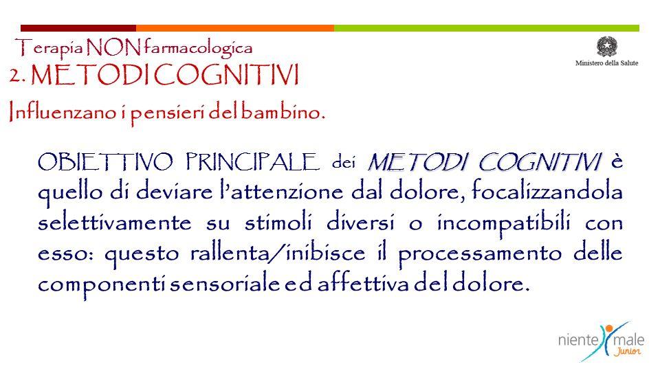 METODI COGNITIVI OBIETTIVO PRINCIPALE dei METODI COGNITIVI è quello di deviare lattenzione dal dolore, focalizzandola selettivamente su stimoli divers