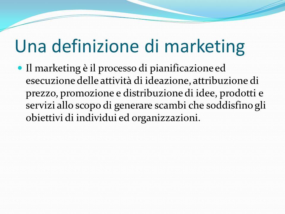 Una definizione di marketing Il marketing è il processo di pianificazione ed esecuzione delle attività di ideazione, attribuzione di prezzo, promozion