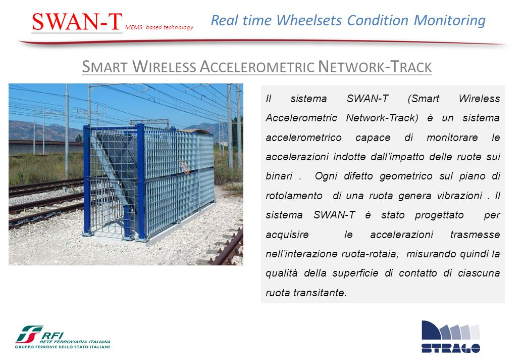 S MART W IRELESS A CCELEROMETRIC N ETWORK -T RACK SWAN-T MEMS based technology Real time Wheelsets Condition Monitoring Il sistema SWAN-T (Smart Wirel