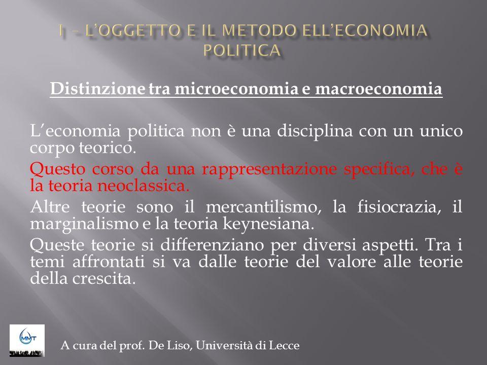Distinzione tra microeconomia e macroeconomia Leconomia politica non è una disciplina con un unico corpo teorico. Questo corso da una rappresentazione