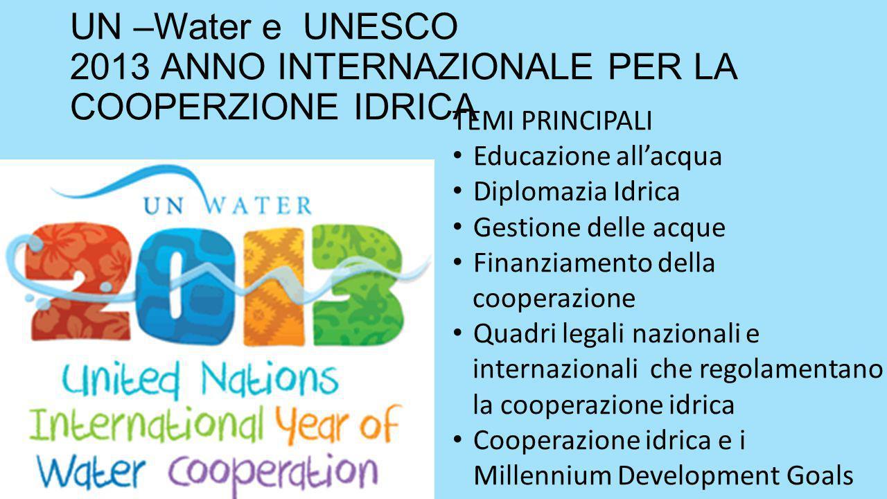 UN –Water e UNESCO 2013 ANNO INTERNAZIONALE PER LA COOPERZIONE IDRICA TEMI PRINCIPALI Educazione allacqua Diplomazia Idrica Gestione delle acque Finanziamento della cooperazione Quadri legali nazionali e internazionali che regolamentano la cooperazione idrica Cooperazione idrica e i Millennium Development Goals