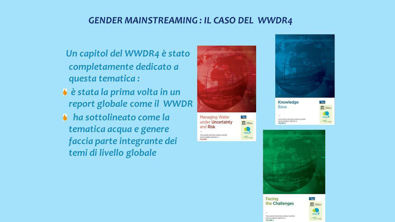 GENDER MAINSTREAMING : IL CASO DEL WWDR4 Un capitol del WWDR4 è stato completamente dedicato a questa tematica : è stata la prima volta in un report globale come il WWDR ha sottolineato come la tematica acqua e genere faccia parte integrante dei temi di livello globale