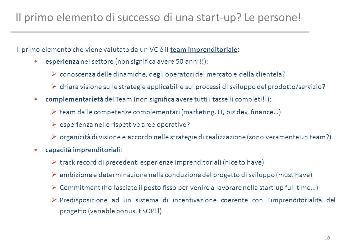 Il primo elemento di successo di una start-up? Le persone! Il primo elemento che viene valutato da un VC è il team imprenditoriale: esperienza nel set