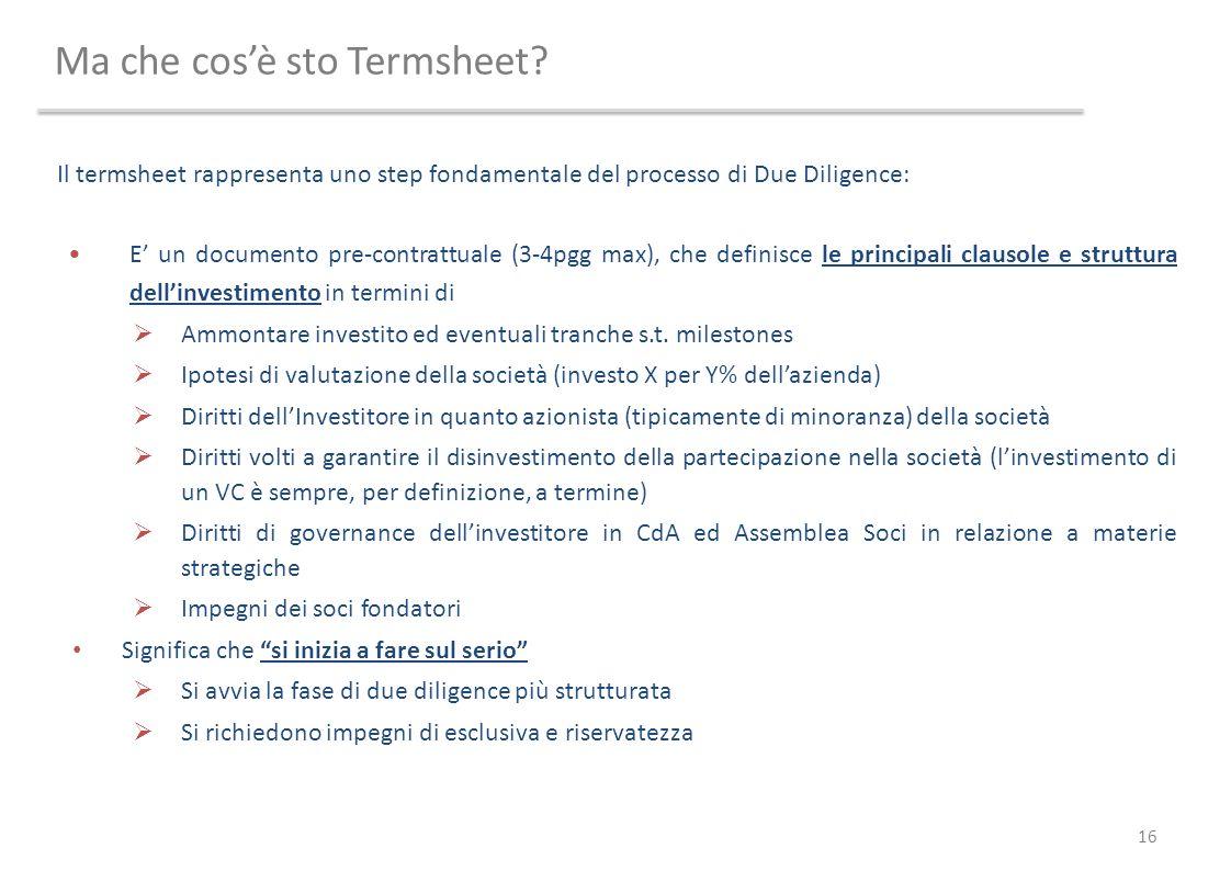 Ma che cosè sto Termsheet? 16 Il termsheet rappresenta uno step fondamentale del processo di Due Diligence: E un documento pre-contrattuale (3-4pgg ma