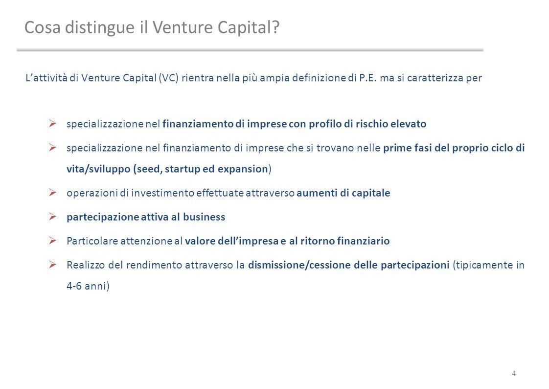 Cosa distingue il Venture Capital? Lattività di Venture Capital (VC) rientra nella più ampia definizione di P.E. ma si caratterizza per specializzazio