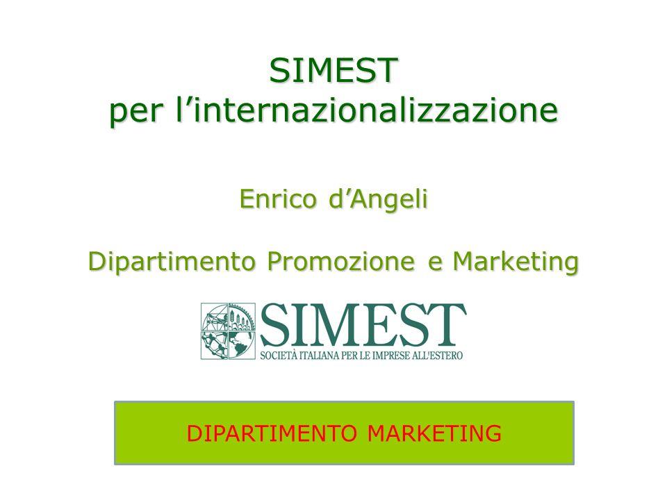SIMEST per linternazionalizzazione Enrico dAngeli Dipartimento Promozione e Marketing DIPARTIMENTO MARKETING