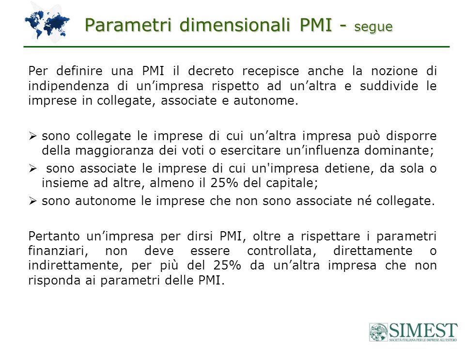 Parametri dimensionali PMI - segue Per definire una PMI il decreto recepisce anche la nozione di indipendenza di unimpresa rispetto ad unaltra e suddivide le imprese in collegate, associate e autonome.