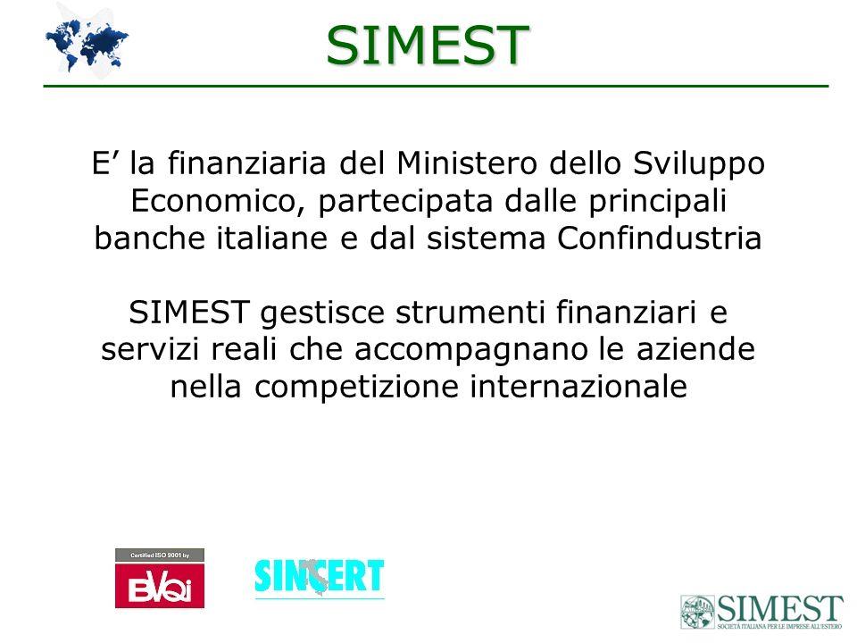 SIMEST E la finanziaria del Ministero dello Sviluppo Economico, partecipata dalle principali banche italiane e dal sistema Confindustria SIMEST gestisce strumenti finanziari e servizi reali che accompagnano le aziende nella competizione internazionale