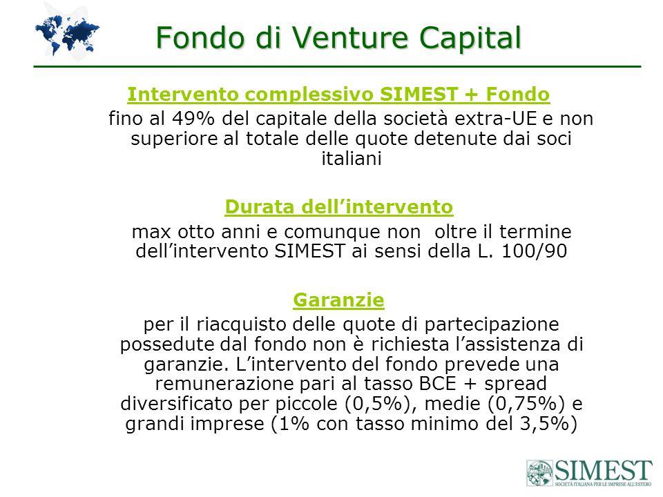 Intervento complessivo SIMEST + Fondo fino al 49% del capitale della società extra-UE e non superiore al totale delle quote detenute dai soci italiani Durata dellintervento max otto anni e comunque non oltre il termine dellintervento SIMEST ai sensi della L.
