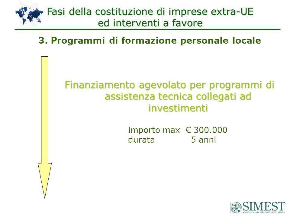 3. Programmi di formazione personale locale Finanziamento agevolato per programmi di assistenza tecnica collegati ad investimenti importo max 300.000